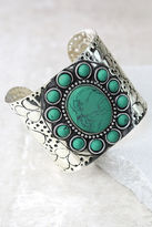 LuLu*s Traveled Far Turquoise and Silver Cuff Bracelet