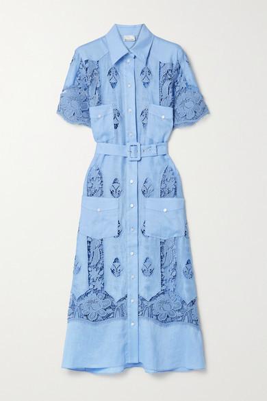 Miguelina Berly Crochet-trimmed Linen Midi Shirt Dress - Light blue