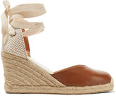 Soludos Lace-up leather wedge espadrilles