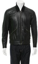 Givenchy Leather Rib Knit-Trimmed Jacket