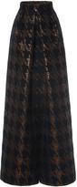 Martin Grant Brocade Houndstooth Long Pleat Skirt