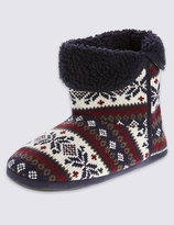 Marks And Spencer Freshfeettm Fairisle Slipper Boots With Silver Technology