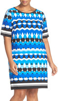 Eliza J Geo Print Elbow Sleeve Shift Dress (Plus Size)