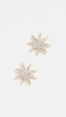 Adina 14k Gold Solid Pave Starburst Earrings