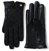 Classic Women's Quilted Leather EZ Touch Gloves-Black