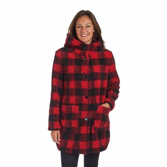 "Kensie Women's 33"" SB Buffalo Plaid Faux Fur Duffle Coat"