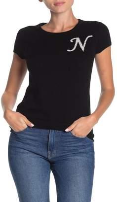 Catherine Malandrino Monogram Cashmere Cap Sleeve Top