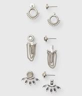 Rhinestone Chain Ear Jacket Stud Earring 3-Pack