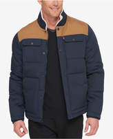 Levi's Men's Woodsman Two-Tone Quilted Puffer Jacket with Fleece-Lined Collar