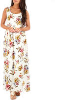 Off-White California Trading Group Women's Maxi Dresses Off Floral Ruched Sleeveless Maxi Dress - Women