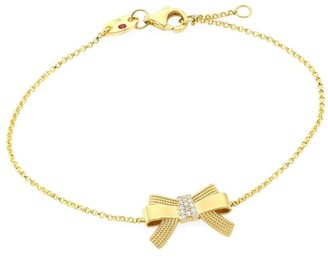 Roberto Coin Disney x Princess Cinderella 18K Yellow Gold & Diamond Bow Pendant Bracelet