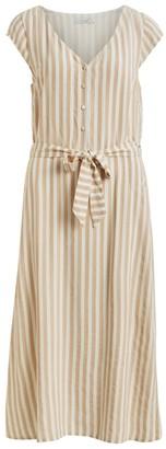Vila Striped Midi Dress with Short Sleeves V-Neck