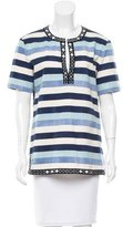 Tory Burch Embellished Striped Top