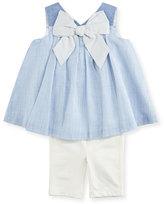 Miniclasix Sleeveless Striped Shift Dress w/ Capri Leggings, Blue, Size 6-24 Months