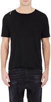 R 13 Men's Zip-Shoulder T-Shirt-Black Size Xs