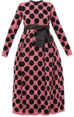 Ashish Polka-dot Waist-sash Sequined Midi Dress - Black Pink