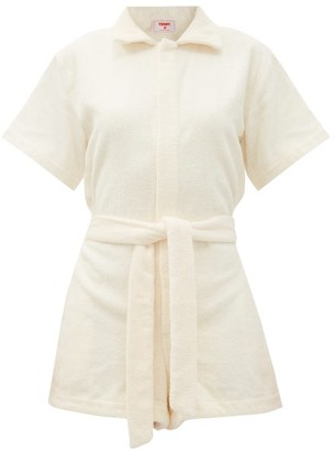 Terry - Il Pareo Belted Cotton-terry Playsuit - Yellow