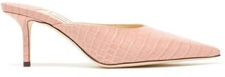 Jimmy Choo Rav 65 Crocodile-effect Leather Mules - Womens - Light Pink