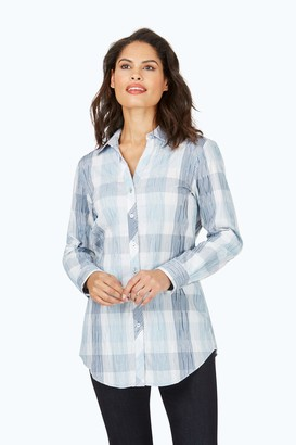 Foxcroft Women's Faith Buffalo Plaid Crinkle Tunic