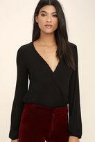 LuLu*s Hit the Town Black Long Sleeve Bodysuit