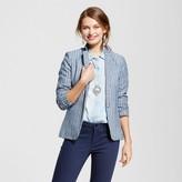 XOXO Women's Yarn Dye Linen Stripe Blazer Juniors') Blue