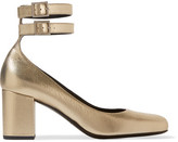 Saint Laurent Babies Metallic Textured-leather Pumps - Gold
