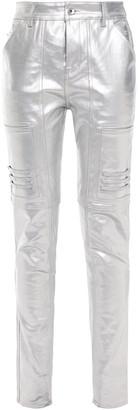 Rick Owens Metallic Coated High-rise Slim-leg Jeans