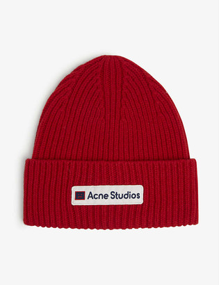 Acne Studios Kansa logo-print ribbed wool beanie