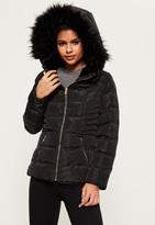 Missguided Black Faux Fur Hood Pleated Padded Coat