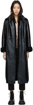 Stand Studio Black Faux-Leather Nino Coat