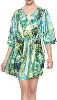 Ark & Co Green Watercolor Mini Dress