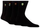 Red Herring Pack Of Four Black 'funky Skulls' Embroidered Socks