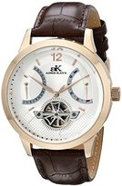 Adee Kaye Men's AK2241-M/SV Rosetone Case, Silver-Rosetone Dial, Brown Band Watch