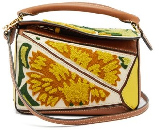 Loewe Puzzle Mini Floral-embroidered Leather Bag - Womens - Yellow Multi