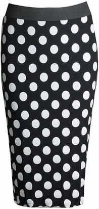 GirlzWalk@ Womens Aztec Polka Dot Tribal Printed Pencil Skirt (Polka Dot Black ML/UK 12-14)