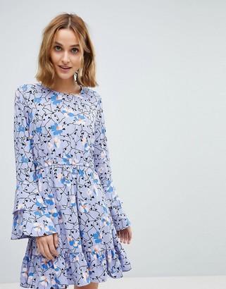 Vero Moda floral mini dress with ruffle sleeve detail in purple