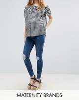 New Look Maternity Over Bump Ripped Skinny Jeans