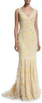 Badgley Mischka V-Neckline Ribbon Soutache Gown
