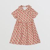 Burberry Childrens Peter Pan Collar Monogram Print Silk Dress