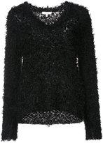 Milly fur knit v-neck sweater