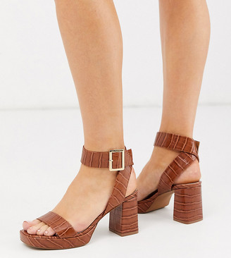 ASOS DESIGN Wide Fit Hopscotch platform heeled sandals in tan croc