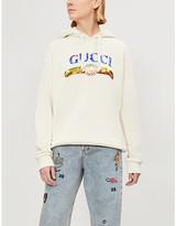 Gucci Women's Purple Sequinned Logo Print Cotton Jersey Hoody, Size: XXS