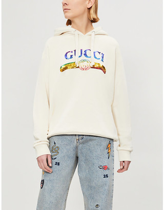 Gucci Women's Purple Sequinned Logo Print Cotton Jersey Hoody, Size: M