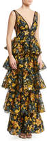 Marchesa Embroidered Multitiered V-Neck Gown