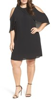 Vince Camuto Plus Size Women's Ruffle Cold Shoulder Shift Dress