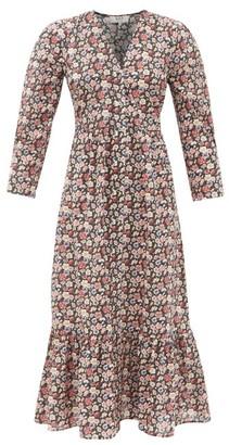Sea Leslie Floral-print Cotton-poplin Midi Dress - Black