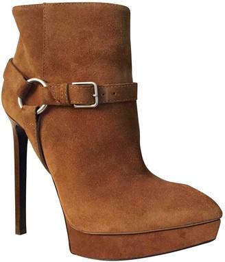 Saint Laurent Camel Suede Ankle boots