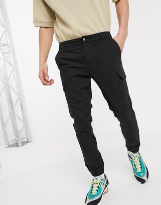 ASOS DESIGN skinny cargo cuffed trousers in black