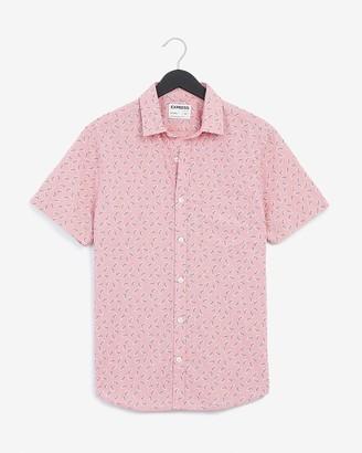 Express Slim Leaf Print Chambray Soft Wash Shirt