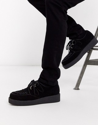 Truffle Collection lace up creeper in black suede
